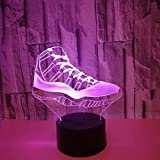 3D Gym Shoes Night Light Lamp 7 Color Change LED Touch USB Table Gift Kids Toys Decor Decorations Christmas Valentines Gift Birthday Gift