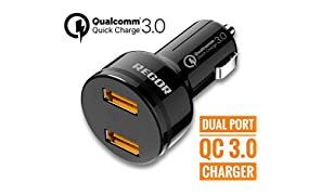 Regor Qualcomm Certified,Quick Charge 3.0,Dual Port 36Watt Car Charger