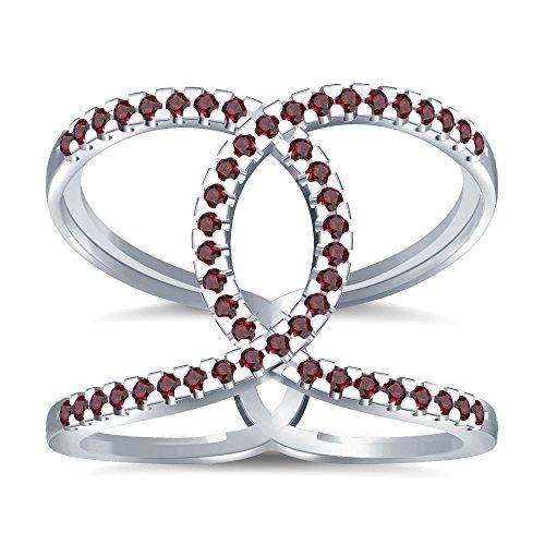 Silvernshine Halo Twist Red Garnet CZ Diamond Engagement Ring 14k White Gold Plated Bridal Ring