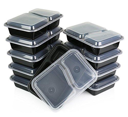 FB FunkyBuys® 2 compartiments de qualité supérieure Lot de 10 boîtes de rangement facile pour aliments avec couvercles réutilisables Matière non réactive – Empilables pour la cuisson, hermétiques et portables – Passe au micro-ondes, congélateur et lave-vaisselle