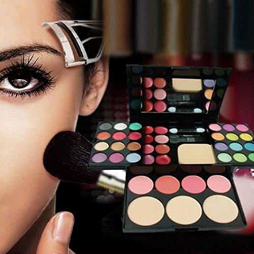 Tefamore Lustre à lèvres Brillant Shimmer Ombre à paupières Palette Maquillage Kit Brush Mirror Set Cosmétique