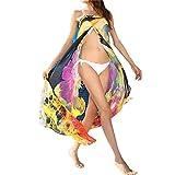 L-Peach Donna Copricostumi Parei per Costume da Bagno Fiore Stampato Chiffon per Spiaggia Bikini Cover Up Giallo