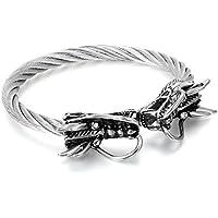 Flongo Bracciale braccialetto uomo, Bracciale in acciaio Retro Double Dragon Cinese, Fonte filo intrecciato regolabile, Argento, Regalo originale per l