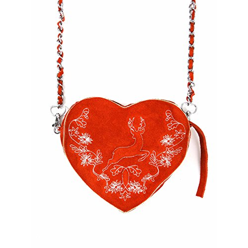 ALMBOCK Trachten-Tasche für Damen - versch. Trachten-Ledertaschen   Herztasche, Spatzl-Tasche, Lederhosen-Tasche, Hirsch-Tasche, Filz-Tasche, Kuhfell-Tasche Rot   Modell Gerti