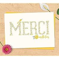 Carte de remerciements merci mille fois - cadeau naissance, mariage - Collection champêtre