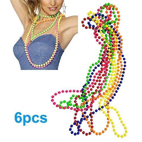 iLoveCos 80er Party Kleid Zubehör Kunststoff Neon Mehrfarbig Perlenkette Perlen Halsketten Fluoreszierende Perlen Set von 6, One Size (Kunststoff-perlenketten)