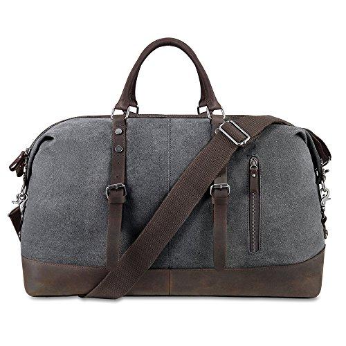 BLUBOON Weekender Vintage Reisetaschen Leder Segeltuch Herren Damen (Dunkelgrau) Grau-32L