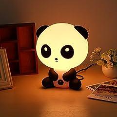 Idea Regalo - Lampada Luce Notturna Letto Lettura Naturale Lampada da Tavolo Portatile LED Lampada Comodino Illuminazione Notte per Bambini Regalo (panda)