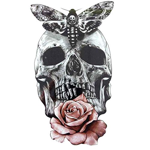 VelvxKl Fake Tattoo Sticker Long Lasting Punk Blume Skull Wasserdicht Mode Temporary Tattoo Body Art multi