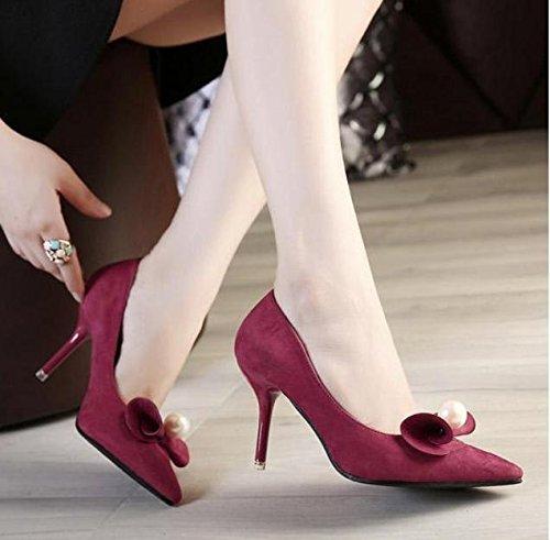 GS~LY Perle di prua punta tacchi a spillo in pelle scamosciata donna Red