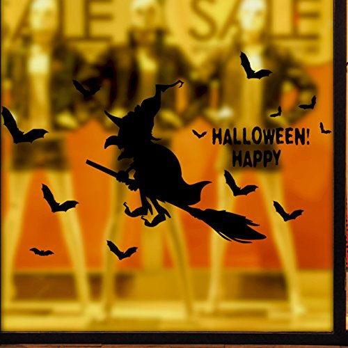 Festliche Wall Sticker animation terroristischen Ausdruck geek Shop bar Fenster Glas Dekoration Halloween Besen, 60 * 50 cm (Candy Kleid Party)