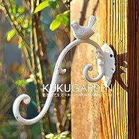 Joeesun European cast Iron Gardening Bird Hooks Villa Garden Balcony Hanging Basket Flower Pot Hook Wall Hanging