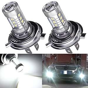 AUDEW 2 X H4 80W Samsung LED Phare Voiture 760LM Anti-Brouillard Ampoule Auto Headlight Véhicule DRL Lampe DC 12-24V(Blanc 7000-8000K)
