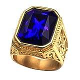 PAURO Anillo De Bodas Cuadrado Dorado De Oro De La Vendimia De Los Hombres De con Azul Grande De La Piedra TamañO 19