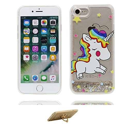 iPhone 6 Custodia, Glitter Scintillante che scorre scintillio trasparente / Case iPhone 6S copertura, Cover Shell Graffi Resistenti / Semplice / ring supporto Color 1