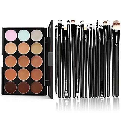 Fami 15 couleurs Contour Crème visage Maquillage Correcteur Palette Professional + 20 Brosse,Noir
