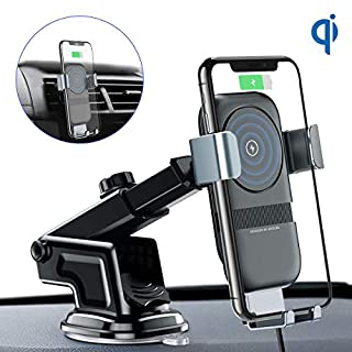 andobil Wireless Car Charger Mount, 10w Qi Fast Charging Car Phone Holder Air Vent&Dashboard Compatible with Samsung Galaxy Note 9/ S9/ S9+ /S8 /S8+, Compatible with iPhone Xs/Xs Max/XR/X/ 8/8 Plus