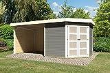Karibu Gartenhaus GOLDENDORF 5 + Anbaudach + Seiten- und Rückwand terragrau