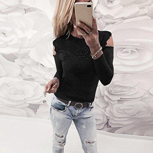 ADESHOP Femme Dentelle T-Shirts en Creux Épaule Fuite Manche Longue Tops Slim Mode Serré Automne Col Rond Bustier Dentelle Couture Chemise à Manches Longues Noir