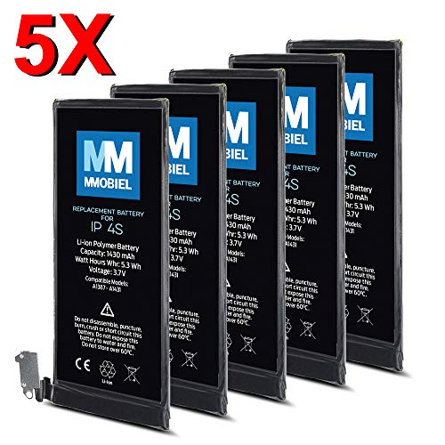 MMOBIEL Paquet de 5 Batteries pour iPhone 4S Li-ION Batterie de Rechange 3.7V 1430mAh 5.3Wh
