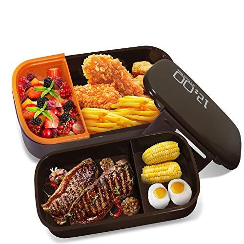 Oursun Lunchbox mit Fächern Lunch Box für Kinder und Erwachsene Bento Box Bpa Frei Brotdose Schule 2-Schichten mit Besteck