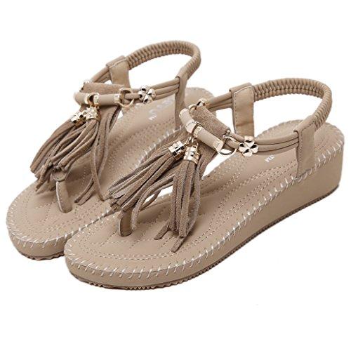 Eagsouni Femmes été Bohême Mode Sandale Chaussures Talon Compensée Soirée Beige