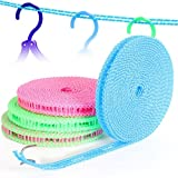 BlueBeach® Packung 3 Tragbar Winddichte Wäscheleine Kleiderlinie 5m Trocknen Wäscheleine Kleider Seil für Outdoor / Indoor / Home / Reisen (zufällige Farbe)