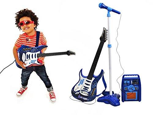 Iso Trade Stativ Rockgitarre Mikrofon Verstärker Kinder Gitarre Set #1554
