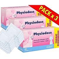 Physiodose Sérum physiologiques Lot de 3 boîtes de 40 unidoses + 10 Sachets de 2 Compresses Stériles 7,5x7,5cm …