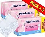 Physiodose Sérum physiologiques Lot de 3 boîtes de 40 unidoses + 10 Sachets de 2 Compresses Stériles 7,5x7,5cm