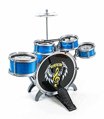 Kinderschlagzeug / Drum-Set für Kinder, 5 Trommeln, 1Becken, 2Sticks, Steckmontage, Größeca.52x55x39cm, lieferbar in den Farben Blau/Schwarz oder Rot/Weiß (Blau/Schwarz)