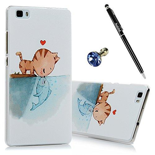 Custodia Resistente per Huawei Ascend P8 Lite (5.0 Pollici) NON per P8, Badalink 3 in 1 Set Huawei P8 Lite Case Cover Hard Case, Disegno Gatto e pesci + Anti Dust Plug e Stylus Stilo Penna