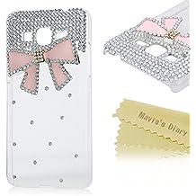 Funda para Samsung Galaxy Core Prime SM-G360F G3606 G3608 G3609,- Mavis's Diary 3D Bling Diamantes Hecho A Mano Funda Diseño de Arco rosa Duro Protección Transparente PC Case Cover Cáscara