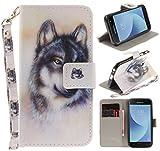 CLM-Tech kompatibel mit Samsung Galaxy J3 (2017) DUOS Hülle Tasche aus Kunstleder, PU Leder-Tasche Lederhülle, Wolf Mehrfarbig weiß grau