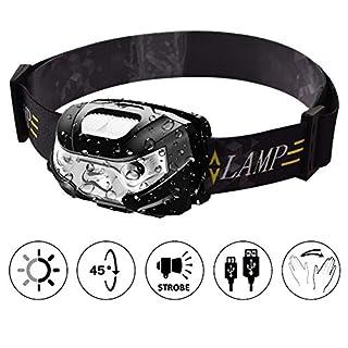 TinMiu Stirnlampe USB wiederaufladbar LED Stirnlampe mit Smart Sensor IPX4 Wasserdicht Stirnband Licht für Camping, Angeln, Wandern, Radfahren, Jagd, Schwarz