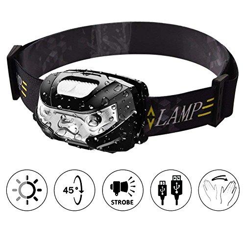 TinMiu Lampe Frontale Rechargeable USB Phare LED Lampe Frontale avec Smart Sensor IPX4étanche Bandeau lumière pour Camping pêche randonnée Vélo Chasse, Noir