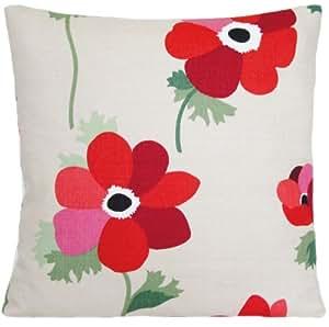 Housse de coussin Rouge coquelicot Taie d'oreiller décorative Motif fleurs Liberty de Londres en tissu carrée style Miranda