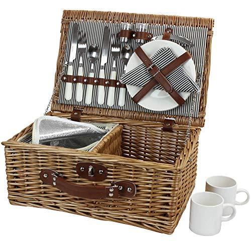 Picknick -Korb für 2, Willow Hamper Set mit Isolierung, Handgefertigtes großes Wicker Picknick -Set mit Utensils Besteck - Perfekt für Picknick, Camping oder jede andere Outdoor -Veranstaltung