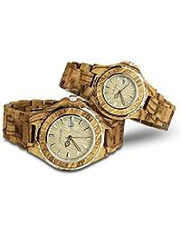 his-and-hers relojes reloj de madera reloj parejas relojes para mujeres para hombres luminoso reloj de pulsera resistente al agua 30m resistente al agua (zebra-wood)