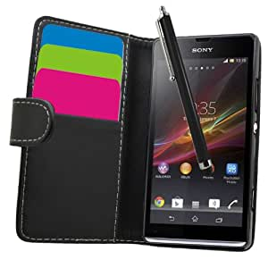 Samrick Executive Specially Designed Soft Leather Book Wallet Case with Credit Card/Business Card Holder, Screen Protector, Microfiber Cloth, High Capacitive Stylus Pen for Sony Xperia SP C5302/Xperia SP LTE C5303/C5306 - Black
