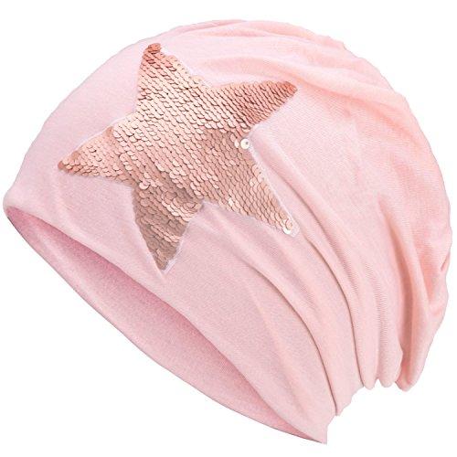 Compagno Slouch Beanie mit Pailletten aus atmungsaktivem, feinem und leichten Jersey Unisex Damen Mütze Haube Boho Bini Mädchen Einheitsgröße, Farbe:Rosa