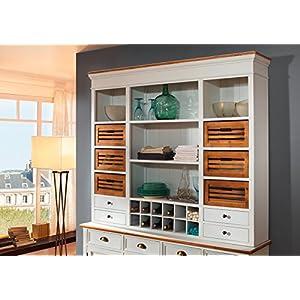SAM® Küchen Buffet Side Board Paris 409 aus weiß lackiertem Paulowniaholz in modernem Landhausstil