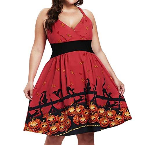 Vectry Damen Halloween Kleider ärmellose Halfter Freizeit Kleid Vintage Kürbis Muster lässig Elegante hohe Taille Party Kleid Reißverschluss Abendkleid Club Prom Karneval Festival Kostüm Rot (Lustig Einfache Gruppe Kostüm)