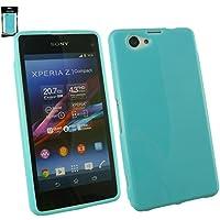 Emartbuy® Sony Xperia Z1 Compact--Displayschutz Und Glänzendes Gloss Gel Case Hülle Schutzhülle Blau