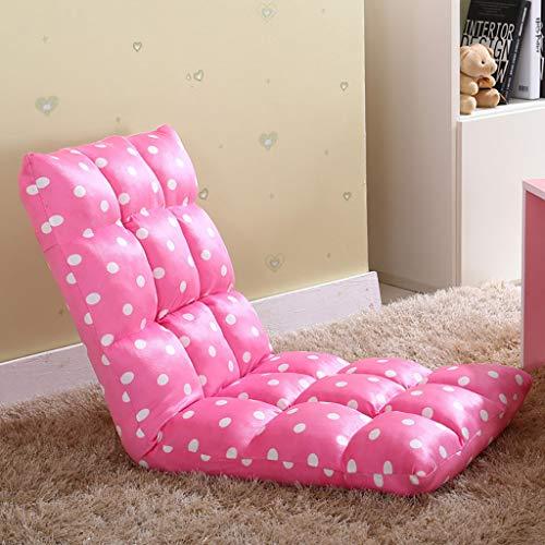 Einstellbare Klappboden Stuhl Couch Tatami Single Kleines Sofa, Boden Gaming Sofa Stuhl, Soft Cushion Couch Recliner Faltbare Tatami,Rosa,110 * 52 * 12cm