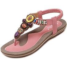 Woky Damen Sommer Sandalen mit Strass Perlen Bohemia Strand Schuhe Freizeit Flach Sandalette Größe 34-44 18bZzrtsg