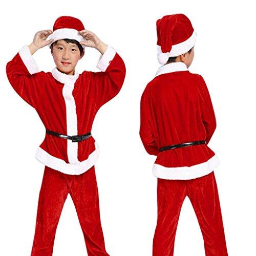 Kinder Santa Kostüm Kleidung Sets, Janly Jungen Weihnachten Rot Outfits Anzüge mit Kinder T-shirt Tops + + Pants + Hut + Gürtel (Age: 5-6 Years Old, Rot) (Hüte Weißen Und Blauen Santa)