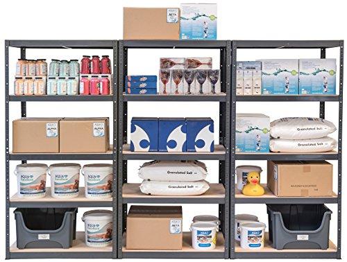 Pack of 3 Extra Deep STORALEX® Garage Shelving Racking Units – UK's Bestselling Garage Storage Shelves – 600mm Deep Version – 200kg Per Shelf (Evenly Distributed) – 5 Tier Shelf Unit – Metal & MDF Boltless Assembly System