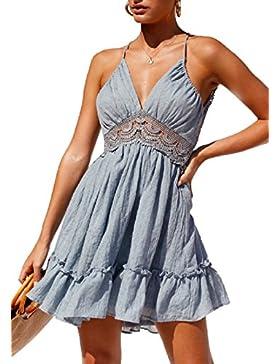 Verano Mujer Fiesta Club Dress Sexy Cuello V Sin Respaldo Playa Mini Vestido de Deslizamiento Fashion Encaje Splicing...