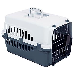 Home Discount Transport Pour Animal domestique, animal Cage Chat Chien Boîte de transport à ressort Serrure de porte, Blanc et Gris